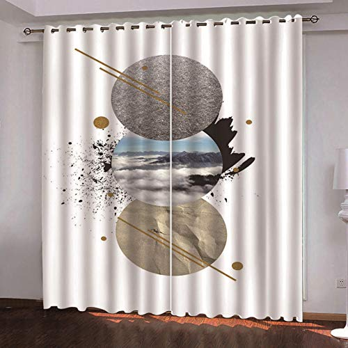 QDDRL Gordijnen voor de woonkamer, set van 2, ondoorzichtig gordijn met ogen, geluidsisolatie, slaapkamer, kinderkamer, moderne raamdecoratie, wit abstract minimalistisch zeestrukpatroon