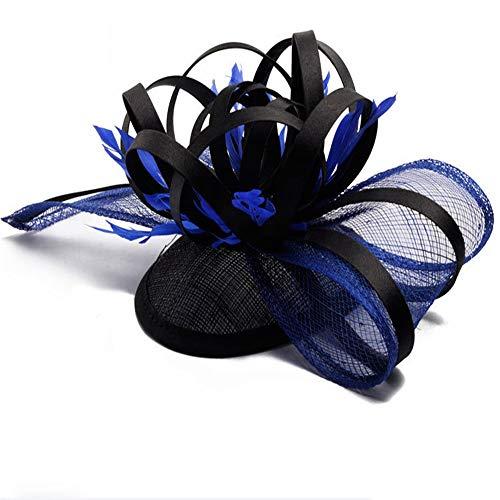 LTH-GD Gorra de Invierno y Sombrero Fascinators Hat for Women Tea Party Diadema Kentucky Derby Cóctel de Boda Flor de Malla Plumas Broche for el Cabello. (Color : Blue)