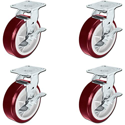 """CasterHQ - Heavy Duty Polyurethane Swivel Casters with Brakes - 6"""" x 2"""" Size (Pack of 4) - 3,600lbs Capacity per Set of 4 - Four Swivels with Top Lock Brakes 6 Inch Caster Set"""