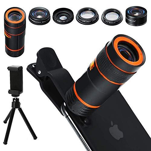 Distianert Handy Kamera Lens Kit, 6 in 1 Universal 12x Zoom Teleobjektiv+0,62x Weitwinkelund20x Makro+235 ° Fisheye+Starburst Objektiv+CPL+Stativ für iPhone X/8/7/6/6S Plus Samsung Android & Handy