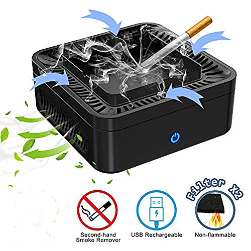 Multifunctional Smokeless Ashtray, USB Rechargeable Ashtray for Car Indoor Outdoor Home