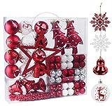Anstore Weihnachtskugeln, 100er Set, Christbaumkugeln Plastik Bruchsicher, Weihnachtsbaumschmuck Set - Baumspitze, Kugeln 3 cm / 6 cm, Perlketten und Schneeflocken