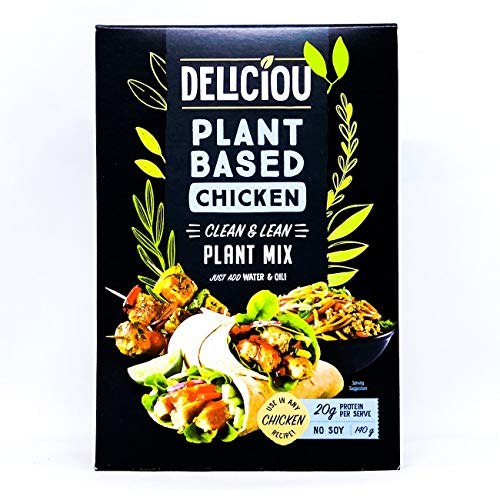 Deliciou Vegan Plant Based Chicken Mix Soy Free 140g - Deliciou Plant-Based Chicken is a dry plant mix where you add water & oil to create a versatile mince