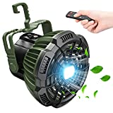 Camping Fan with LED Lantern, 7800mAh Rechargeable Portable Tent Fan with Remote Control, Power Bank, 180°Head Rotation, Perfect Quiet Battery Operated USB Fan for Picnic, Barbecue, Fishing (Green)