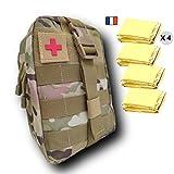 Estuche de emergencia con 4 mantas de supervivencia, vendas, compresas, kit diseñado para la casa, el trabajo, el coche y el excursionismo.