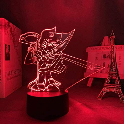 3D ilusión Luz de noche,mata la töten ryuko matoi Lámpara de noche LED de anime,con mando a distancia Decoración de dormitorio Lámpara de mesita de noche para niños,Regalo de Navidad para cumpleaños