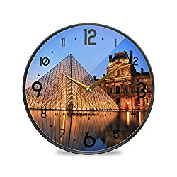 Round Digital Wall Clock, Louvre Muséum Paris Non Ticking Wall Clocks Battery Operated for Kitchen Living Room Office Decorative