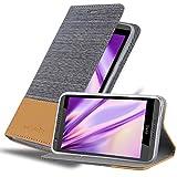 Cadorabo Hülle für HTC Desire 820 - Hülle in HELL GRAU BRAUN – Handyhülle mit Standfunktion & Kartenfach im Stoff Design - Case Cover Schutzhülle Etui Tasche Book