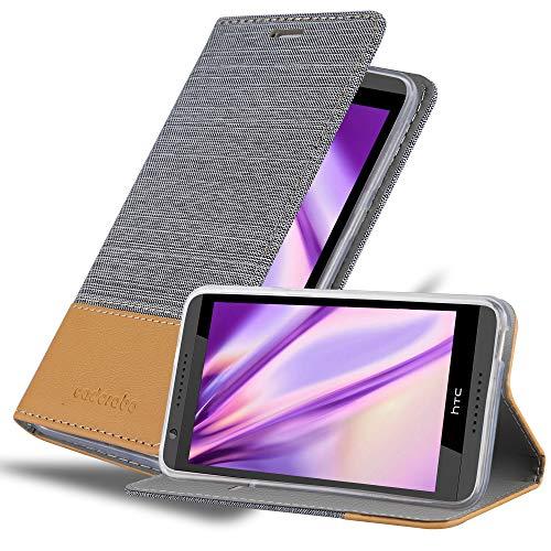 Cadorabo Hülle für HTC Desire 820 in HELL GRAU BRAUN - Handyhülle mit Magnetverschluss, Standfunktion & Kartenfach - Hülle Cover Schutzhülle Etui Tasche Book Klapp Style