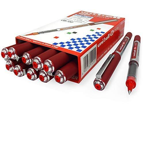Uni-Ball UB-150 micro penne a sfera a inchiostro liquido, 0,5 mm, colore rosso, confezione da 12 + 2