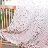 Hiasan Polka Dots Foil Printed Sheer Curtains for Living Room - Faux Linen Grommet Voile Confetti Window Curtains for Bedroom and Kids Room, 52 x 84 Inch Long, Blush Pink, Set of 2 Curtain Panels