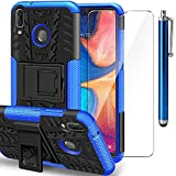 AROYI Funda Samsung Galaxy A20e + Protector de Pantalla, Galaxy A20e 2 en 1 Duro PC Funda y Soft TPU Cáscara de Cubierta Protectora de Doble Funda Caso para Samsung Galaxy A20e + Azul