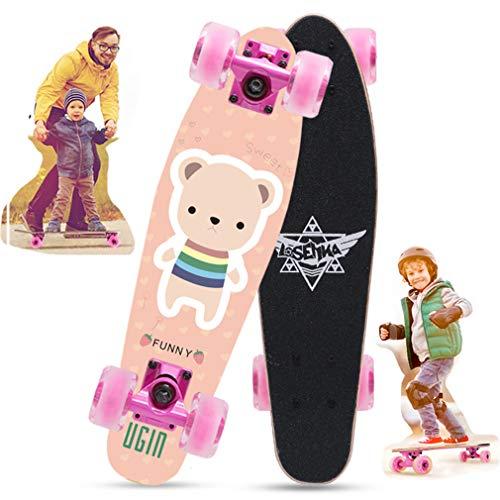 DUBAOBAO 5-10 jaar oude jongen en meisje kinderen skateboard, kleine vis mini skateboard, 7 lagen Noordoost-esdoorn hout + anti-slip schuurpapier, gebroken plaat vervanging!