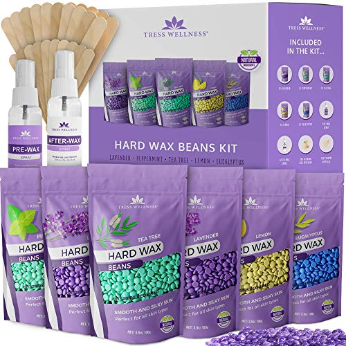Hard Wax Beans Wax Beads 21oz - Painless Coarse Hair Removal - For Bikini Brazilian Underarms Back and Chest - Hair Removal Waxing Spatulas