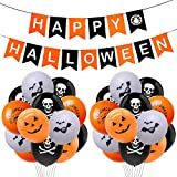 Rorchio Halloween Banners Balloon Decorations, Felt Happy Halloween Bunting and 20pcs Halloween Balloons for Halloween Party Supplies