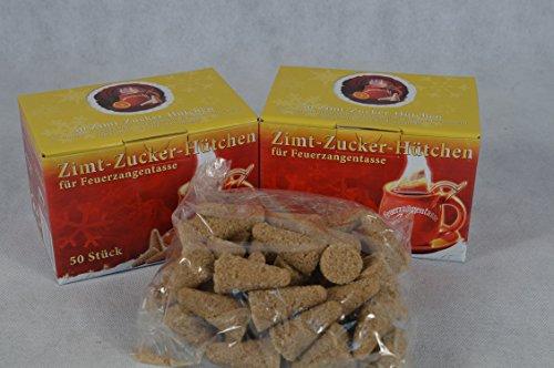 100 Stück (2X50) Zimt-Zuckerhütchen a 8g Zuckerhut Zucker Zimt für Feuerzangentasse Weihnachten Feuerzangenbowle Geburtstag Sylvester