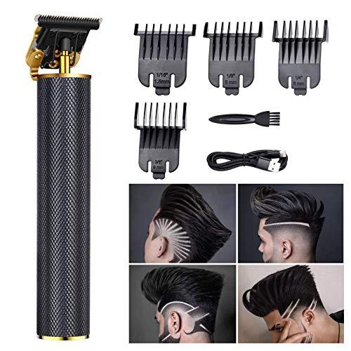 Cortapelos para hombre profesional, recortador de barba, T-Blade, 0 mm, con USB, recargable, impermeable, portátil, con 4 peines guía para uso doméstico y barbero, color negro
