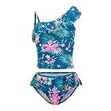 Girls Two Piece Tankini Swimsuit Hawaiian Ruffle Swimwear Bathing Suit Set Blue 6T/6x