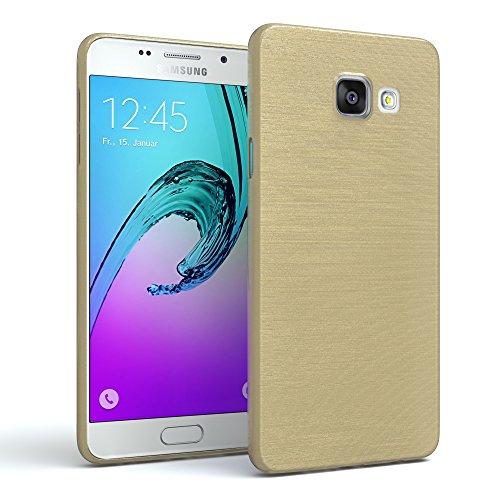 EAZY CASE Hülle kompatibel mit Samsung Galaxy A3 (2016) Schutzhülle Silikon, gebürstet, Slimcover in Edelstahl Optik, Handyhülle, TPU Hülle/Soft Case, Backcover, Silikonhülle, Brushed, Gold