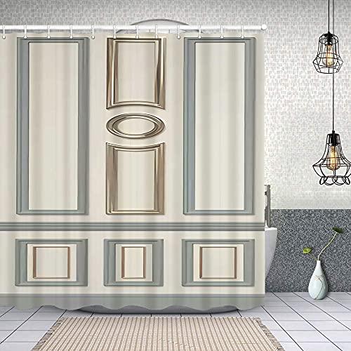 Cortina de Baño con 12 Ganchos,Puerta con patrón Circular Rectangular,Cortina Ducha Tela Resistente al Agua para baño,bañera 180X180cm