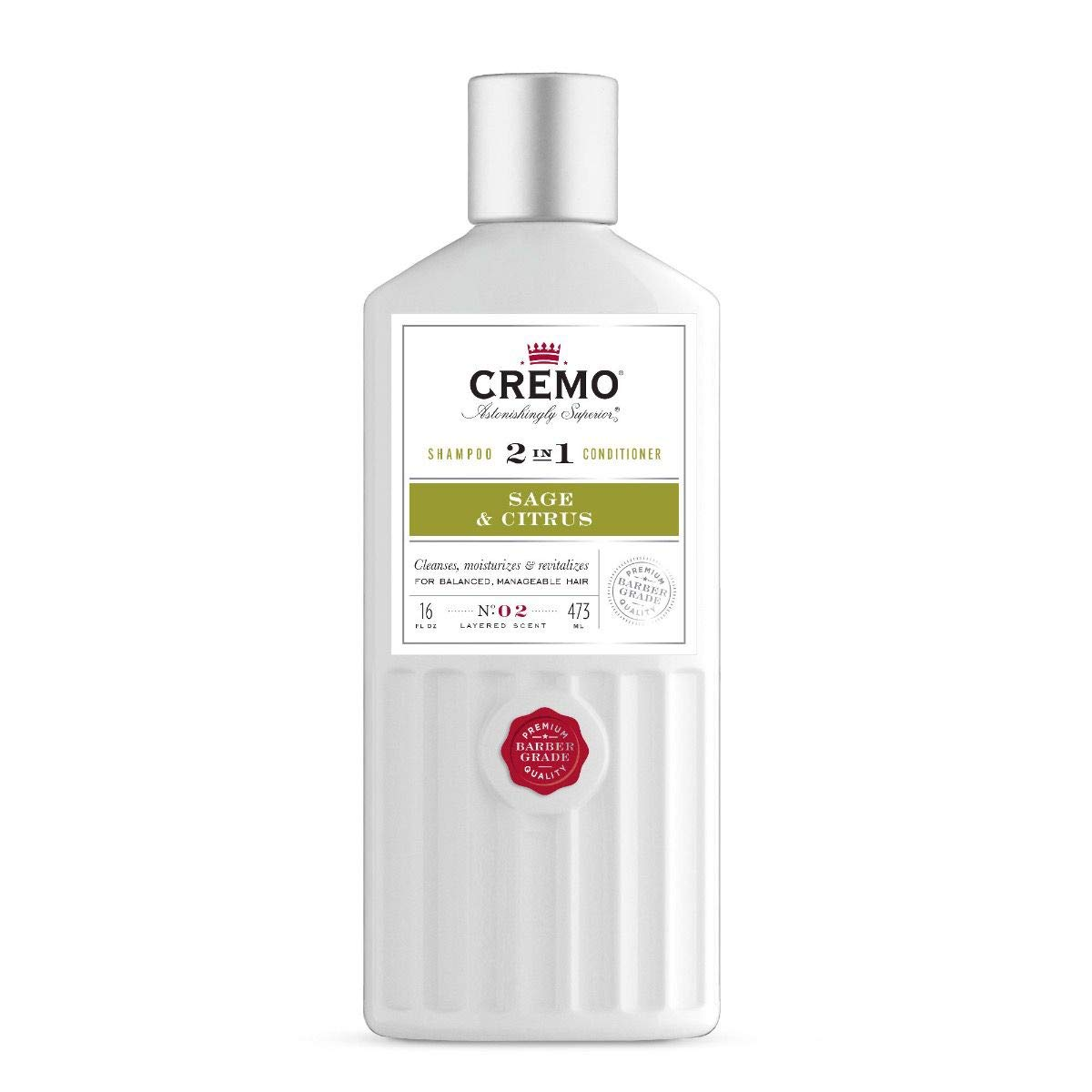 Cremo Barber Grade Sage & Citrus 2-in-1 Shampoo & Conditioner, 16 Oz (2-Pack)