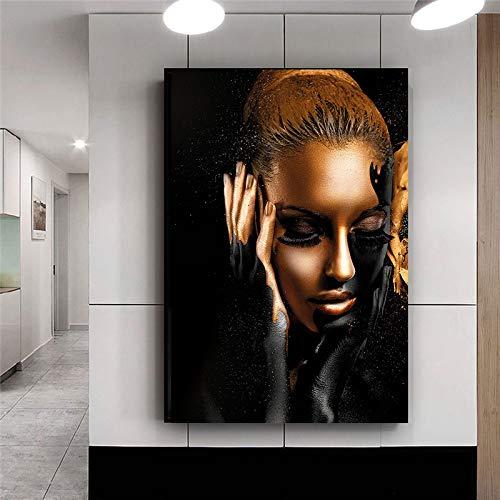 Mur Artiste Résidence Toile Décorative Noir Or Africain Femme Peinture Image Moderne Affiche (sans Cadre) 60x80CM