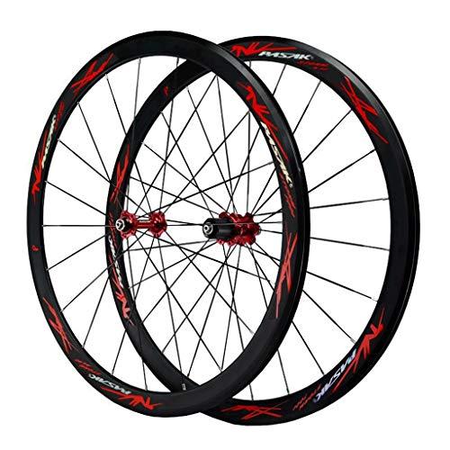 MZPWJD Rennrad Laufradsatz 700c Felgenbremse Doppelwandige Leichtmetallfelge 40mm Fahrrad-Rad QR 7-12S Kartenhub 1890g (Color : Red)
