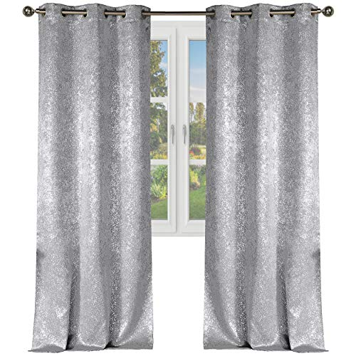 "Elegant Linens Metallic Sparkle Chic Thermal Blackout Grommet Curtain Panels Set of 2 - Assorted Colors & Sizes (Silver, 38"" W x 84"" L)"
