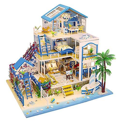 WonDerfulC 3-Lagen Seaside Villa Modellbausatz DIY Holzhaus mit Meerblick Hausbau Großes Puppenhausspielzeug mit Staubschutz und Bewegung Weihnachtshandwerksgeschenk