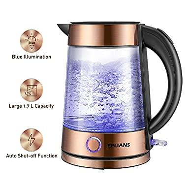 EPLIANS Electric Kettle, LED-Lit Fast Water Boiler, Quick-Boil Glass Tea Kettle with Atmospheric Illumination, 1500 W Enclosed Heating Element and Cool Touch Handle, 1.7 L (Rose Gold)
