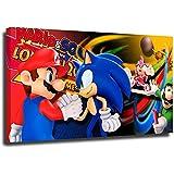 Sonic The Hedgehog - Pintura al óleo para decoración de habitación y gran regalo de película sónica juego enmarcado listo para colgar 60,96 x 45,72 cm