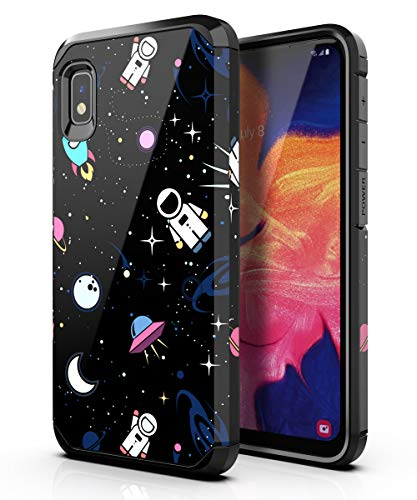 PBRO Samsung Galaxy A10E Case,Samsung A10E Case Cute Astronaut Case Dual Layer Soft Silicone & Hard Back Cover Heavy Duty PC+TPU Protective Shockproof Case for Galaxy A10E Space/Black