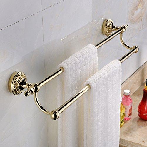 Weare Home, accessorio da bagno moderno con finitura in ottone anticato, doppio porta asciugamani da parete, accessori per il bagno