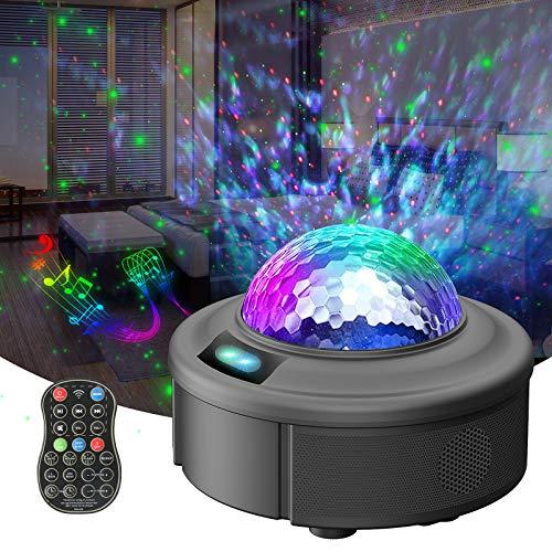 LED Sternenhimmel Projektor, Redpawz Nachtlichter Ferngesteuerte Projektionslampe, 44 Bunte Beleuchtungsmodi Ozeanwellenprojektor mit Bluetooth&Timer für Kinder Schlafzimmer, Dekoration, Party