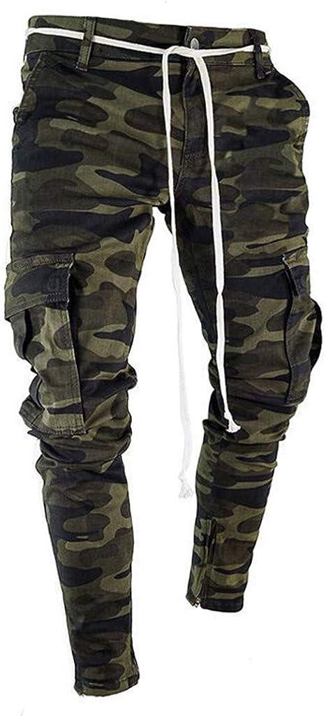 LISTHA Camo Cargo Pants Mens Skinny Stretch Denim Trouser Freyed Slim Fit Jeans