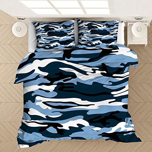 Funda de almohada con funda nórdica con estampado de camuflaje en 3D, cama individual doble tamaño king, dormitorio decorativo, apartamento, ropa de cama suave y cómoda-3_210 * 210 cm (3 piezas)
