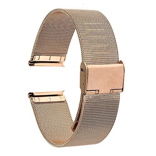 TRUMiRR Banda de 18 mm Reloj de Pulsera de Malla de Acero Inoxidable de Metal para Huawei Reloj, ASUS ZenWatch 2 WI502Q de la Mujer, Withings Activite/Acero,Fossil Q Tailor,36mm DW(Daniel Wellington)