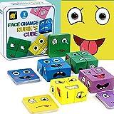 CUIFULI Coloridos cubos mágicos de madera, juguetes creativos, puzzle iq puzzler Building Cubes Emoji, juego de interacción de madera para niños de entrenamiento