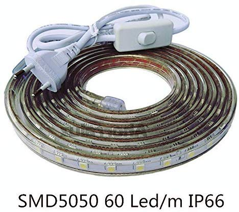 ONSSI Tiras LED Smd5050 220v 60 Led/m para Interiores y Exteriores Decorar IP66 Impermeable con Enchufe de Interruptor LED 3000k (Cálido, 4M)