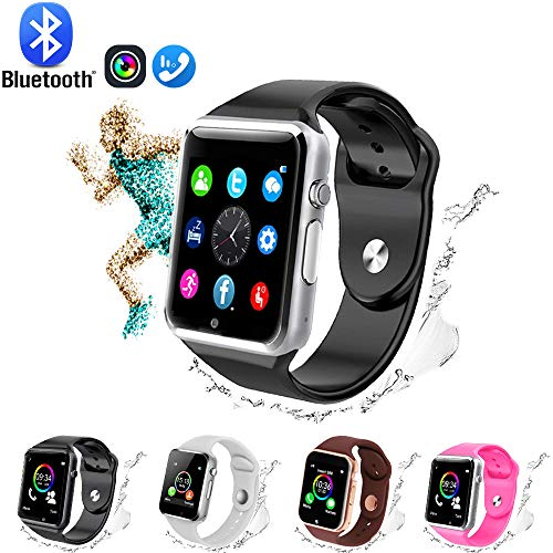 GL Smart Watch,Bluetooth Smart Watch Touch Screen Sport Smart Wrist Watch, Fitness Tracker Camera Pedometer SIM TF Card Slot Compatible Samsung Android iPhone iOS Kids Women Me (Black-Silver)
