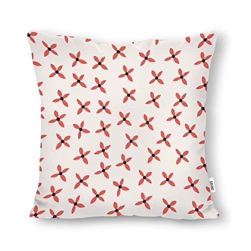 DKISEE - Funda de almohada decorativa con diseño de flores dibujadas a mano, cuadrada, lona de algodón, funda de cojín lumbar para sofá cama, sofá cama, sofá cama, 50,8 x 50,8 cm