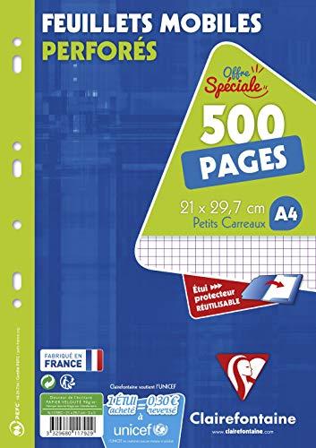 ClaireFontaine 11792C - Un é‰tui carton 500 pages Feuillets Mobiles perforés 21x29,7 cm 90g petits carreaux