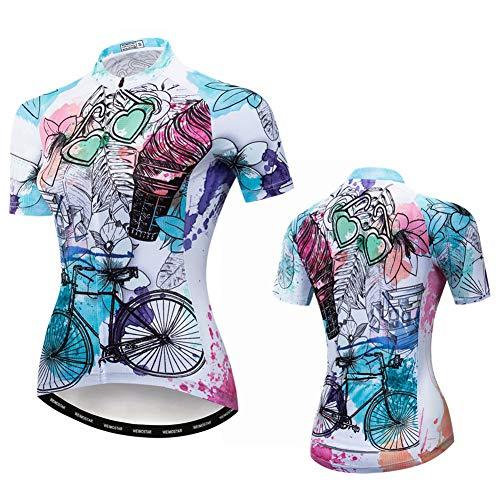 Bili Radtrikot Damen Kurzarm Radsport Bekleidung Damen Sommer Frauen Rad Shirts Blumen Radtrikot Fahrradbekleidung Top (C, L)