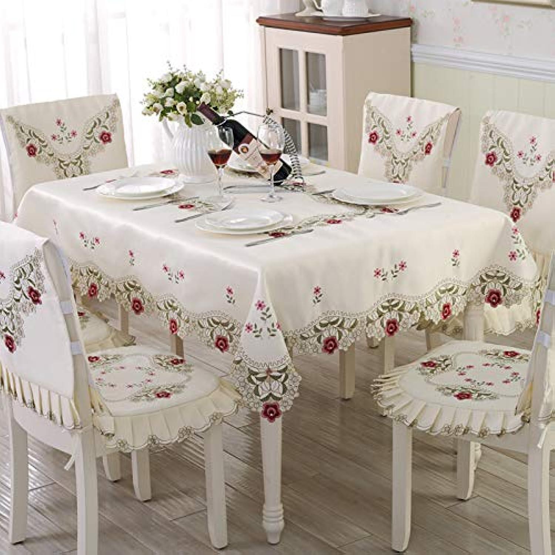 Creek Ywh European tablecloth fabric coffee table cloth table cloth set round table set garden lace chair cushion chair cover, 522 satin doublesided embroidery, 130130cm