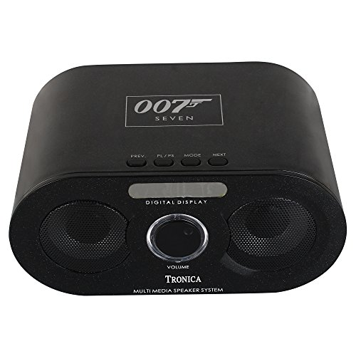 Tronica 007 Stereo Bluetooth/FM/USB/AUX Player with Remote & Dual Speakers (Black)