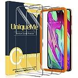 UniqueMe [3 Pack] Compatible con Samsung Galaxy A40 Protector de Pantalla, Vidrio Templado [9H Dureza] [Marco de Alineación] HD Film Cristal Templado.