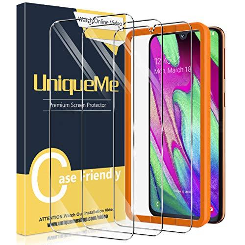 UniqueMe [3 Pezzi] Vetro Temperato per Samsung Galaxy A40 con Strumento di Installazione, [Durezza 9H] Pellicola Protettiva per Samsung A40 Pellicola con Un Perfetto Servizio Post-Vendita.