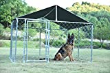 Kullavik 7.5' x 7.5' x 5' Dog Kennel Backyard Pet Cage Galvanized Chain Link Crate Dog House Large Pen Fence,with Black Weather Proof Roof Cover