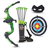 Bow and Arrow for Kids - Green Light Up Kids Archery Set with MASK, 6 Suction Cup Arrows, Target,...
