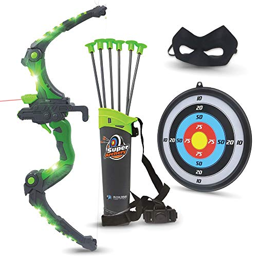 Bow and Arrow for Kids - Green Light Up Kids Archery Set with MASK, 6 Suction Cup Arrows, Target, 3-Belt Quiver - Indoor Outdoor Boys Toys Gift for Kids Girls Children Age 6 7 8 9 10-12 Year Old
